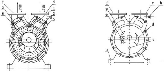 SZ水環真空泵工作原理圖示